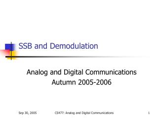 SSB and Demodulation