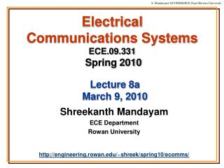 Electrical  Communications Systems ECE.09.331 Spring 2010