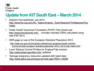 Update from KIT South East – March 2014