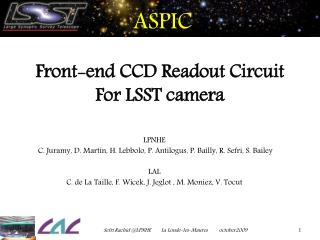 ASPIC Front-end CCD Readout Circuit For LSST camera