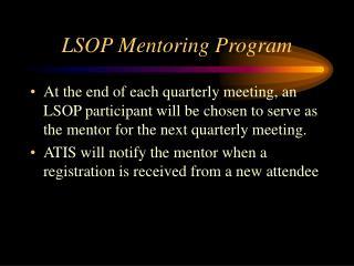 LSOP Mentoring Program