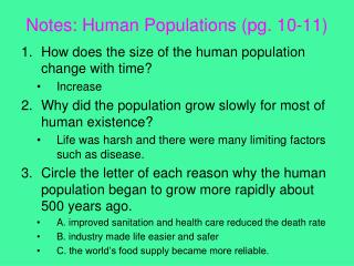 Notes: Human Populations (pg. 10-11)