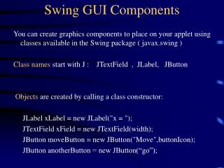 Swing GUI Components
