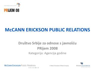 McCANN ERICKSON PUBLIC RELATIONS
