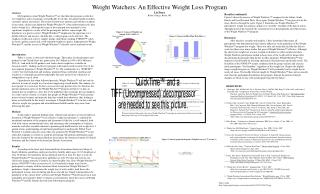 Weight Watchers: An Effective Weight Loss Program Liz Ziner Beloit College, Beloit, WI