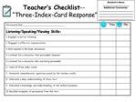 Teacher s Checklist--   Three-Index-Card Response