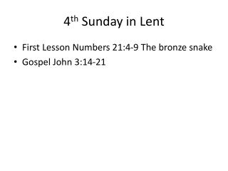 4 th  Sunday in Lent