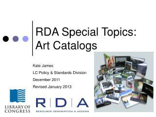 RDA Special Topics: Art Catalogs