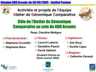 Réunion GDR Arsenic du 30/03/2005 - Institut Pasteur