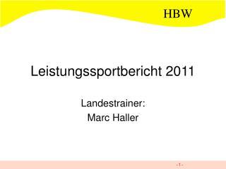 Leistungssportbericht 2011