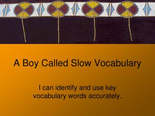 A Boy Called Slow Vocabulary