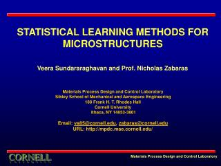 STATISTICAL LEARNING METHODS FOR MICROSTRUCTURES