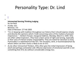 Personality Type: Dr. Lind