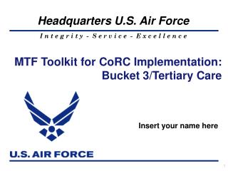 MTF Toolkit for CoRC Implementation: Bucket 3/Tertiary Care