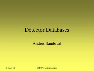 Detector Databases