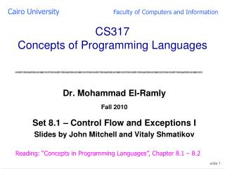 CS317  Concepts of Programming Languages