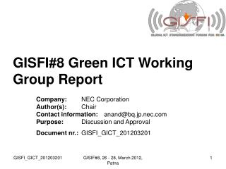GISFI#8 Green ICT Working Group Report