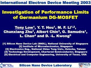 Investigation of Performance Limits of Germanium DG-MOSFET