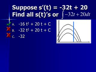 Suppose s'(t) = -32t + 20 Find all s(t)'s or