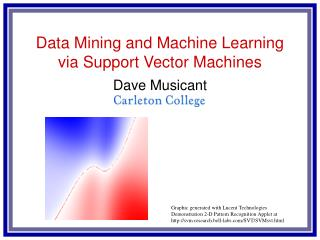 Data Mining and Machine Learning via Support Vector Machines