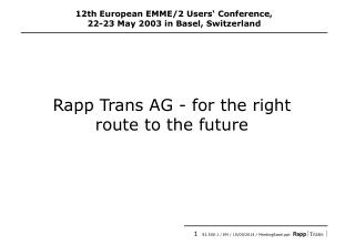 Rapp Trans AG - for the right route to the future