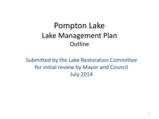 Pompton Lake  Lake  Management Plan  Outline