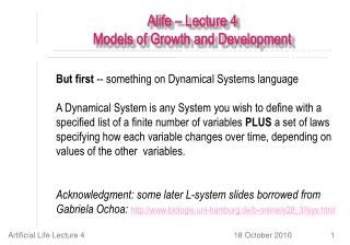 Alife – Lecture 4 Models of Growth and Development