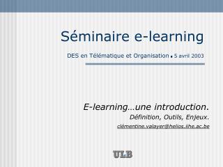 Séminaire e-learning DES en Télématique et Organisation . 5 avril 2003