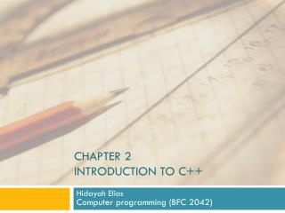 Chapter 2 introduction to C