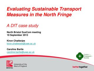 Evaluating Sustainable Transport Measures in the North Fringe  A  DfT  case study