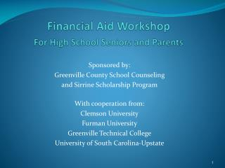 Financial Aid Workshop For High School Seniors and Parents