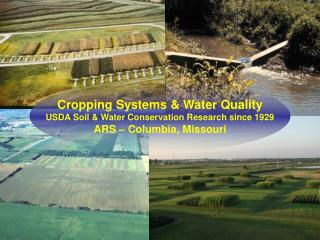 Cropping Systems & Water Quality USDA Soil & Water Conservation Research since 1929