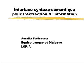 Interface syntaxe-sémantique pour l'extraction d'information