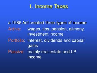 1. Income Taxes