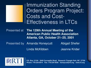 Immunization Standing Orders Program Project: Costs and Cost-Effectiveness in LTCs