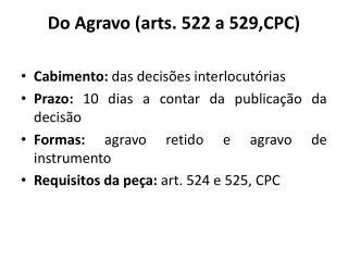 Do Agravo ( arts . 522 a 529,CPC)