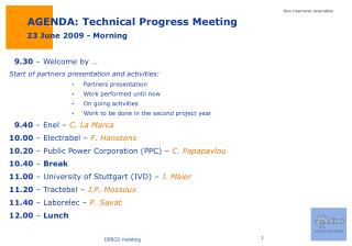 AGENDA: Technical Progress Meeting