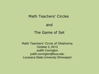 Math Teachers' Circles  and  The Game of Set