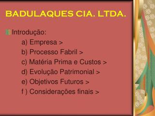 BADULAQUES CIA. LTDA.