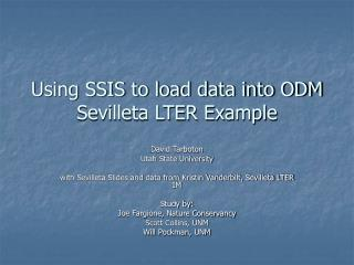 Using SSIS to load data into ODM Sevilleta LTER Example