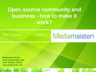 Open source community and business - how to make it work?
