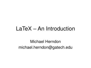 LaTeX – An Introduction