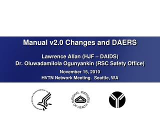 Manual v2.0 Changes and DAERS