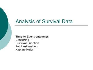 Analysis of Survival Data
