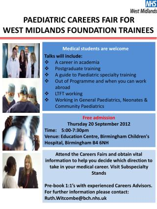 PAEDIATRIC CAREERS FAIR FOR  WEST MIDLANDS FOUNDATION TRAINEES