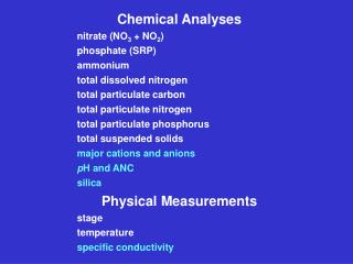 Chemical Analyses nitrate (NO 3  + NO 2 ) phosphate (SRP) ammonium total dissolved nitrogen