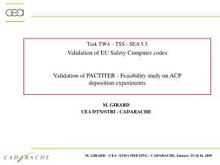 Task TW4 – TSS - SEA 5.5   Validation of EU Safety Computer codes