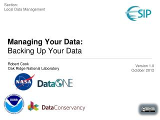 Managing Your Data:  Backing Up Your Data