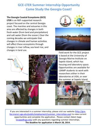 GCE-LTER Summer Internship  Opportunity Come Study the Georgia Coast!