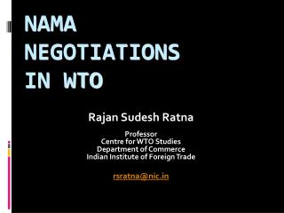 NAMA  NEGOTIATIONS  IN WTO